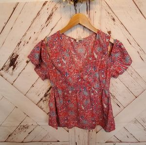 Lucky Brand Whimsical Cold Shoulder Top M